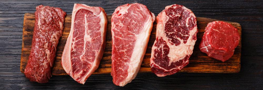 5 verschiedene Cuts vom Rind. Vom Flanksteak bis zum Filetstück ist alles dabei.